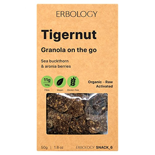 Organic Gluten-free Granola (12 x 1.8 oz Pack) with Tigernut and Sea Buckthorn - Gut-friendly - Raw - Vegan - Sprouted - Non-GMO