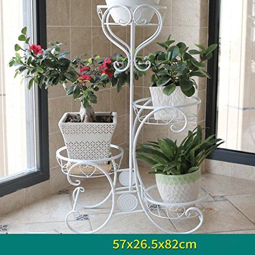 Edge to Porte-Fleurs Fleur Stand Étagère Multi Étage Métal Peinture Fleur Pot Cadre Fer Intérieur Balcon Salon Plante Présentoir (Couleur : Blanc, Taille : 57 * 26.5 * 82cm)