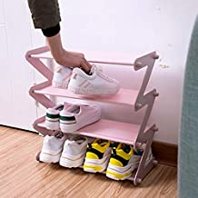 GSQUARE® 4 Tier Shoe Rack, Stackable Multi-Layer Shoe Organizer Shelf for Living Room, Entryway || 4 Layer Z Shaped (Pink)