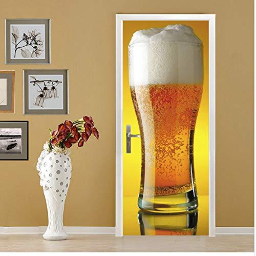 Diy 3D Bier Tür Aufkleber Für Kinder Schlafzimmer Wohnzimmer Poster Pvc Wasserdichte Aufkleber Türverpackung 77X200 Cm Türaufkleber