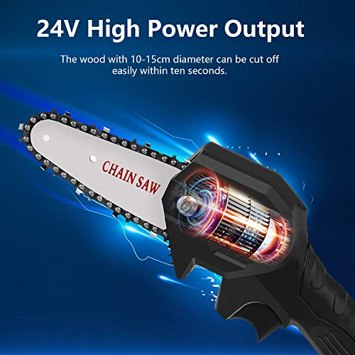 Archycals Chainsaw, 4 Inch Cordless Chainsaw, 24V Mini Chainsaw, Portable Handheld Electric Saw, Adjustable Cutting Speed for Wood Cutting, Tree Pruning, Garden