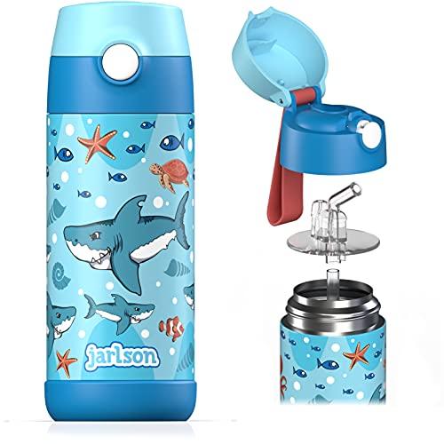 Jarlson® Borraccia Bambini Acciaio Inox, Bottiglia Termica, Senza BPA, Bottiglia Acqua con Cannuccia, Termos 350 ml (Squalo, 350)