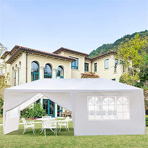 Carpa de jardín blanca para fiestas, carpa plegable con paredes para el hogar, al aire libre, boda, camping, terraza, patio, barbacoa, fiesta (tamaño: 3 x 6 m, seis lados (dos puertas))