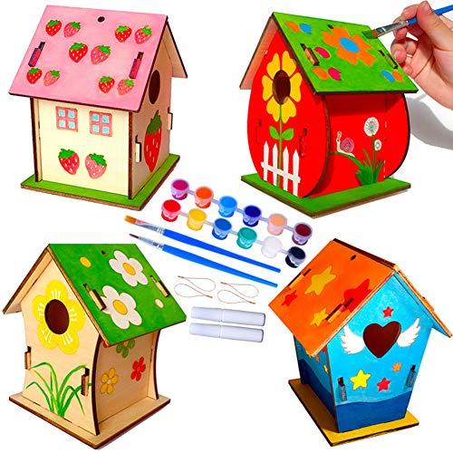 Set di 4 Casetta Uccelli in Legno Fai-da-Te Kit Casa Uccelli in Legno Incompiuto Verniciabile Set di Casa Uccelli da Appendere con 12 Colori 2 Pennelli 2 Colla 4 Corda per Ragazzi Artistico Educativo