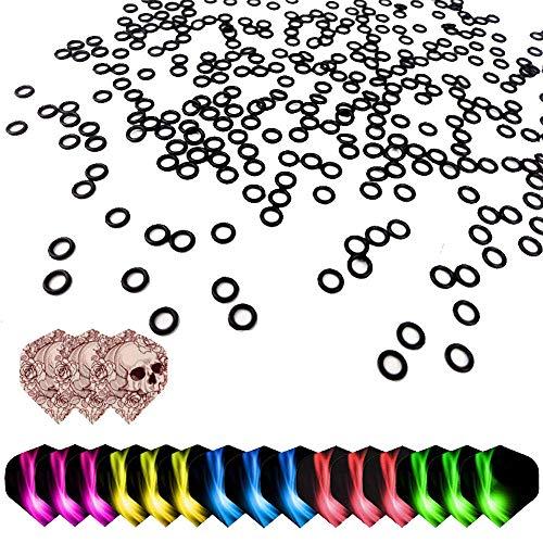 ToBeIT Dart Gummiringe 200 stücke und Dart Flights 18 stücke - Dart O-Ring für optimalen Halt der Schäfte mit standard Form Darts Flights