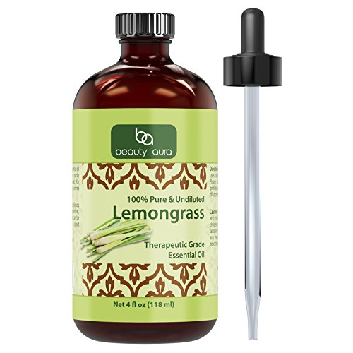 Beauty Aura Lemongrass Essential Oil * 4 Oz Bottle * 100% Pure Undiluted Therapeutic Grade Oils * Ideal for Aromatherapy * Great Quality Great Value