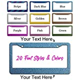 Custom Personalized Glitter Texture License Plate Frame,Your Own Text Customized Design Metal License Plate Holder, Vanity Car Plate Frame, Customize Funny License Plate Holder Chrome 2 Holes
