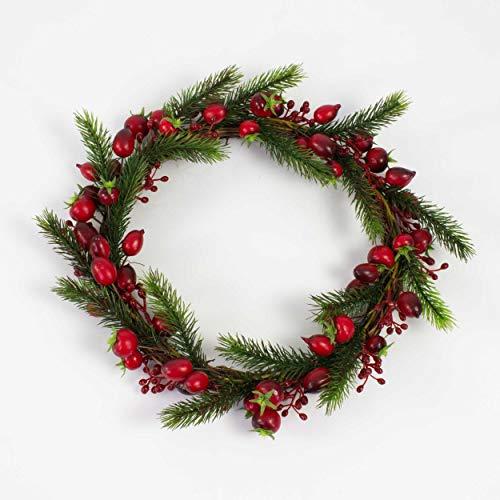 artplants.de Künstlicher Hagebuttenkranz, Beeren, Tannenzweige, Ø 30cm - Türkranz - Weihnachtsdeko