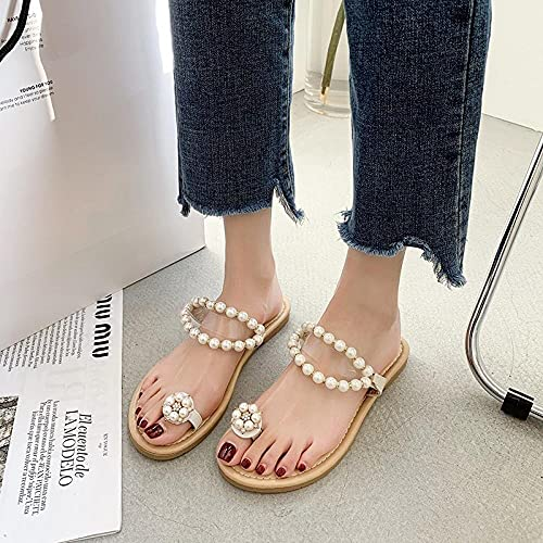 ypyrhh Zapatos Unisex Adulto,Zapatos de Playa de Agua de Perlas Planas, Sandalias de bateado-Caqui_38,Hombres Verano Flip-Flop Sandalias