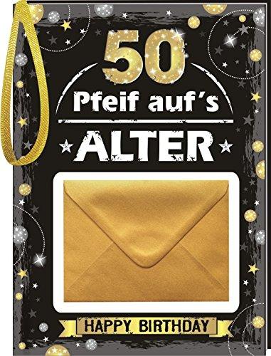 AV Andrea Verlag Pfeif auf's Alter 50 im Geschenke Set für Frauen und Männer zum Geburtstag Geldgeschenk Umschlag (Pfeif aufs Alter 50 Gold 10526)