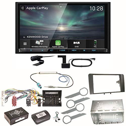 Kenwood DMX-8019DABS Carplay Android Auto Digitalradio DAB+ Bluetooth Freisprecheinrichtung DMX8019DABS USB MP3 Autoradio 2-DIN Moniceiver Einbauset für Audi A3 8P 8PA