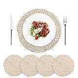AXABING 4er Set Tischset aus Gewebtem Maisstrohs, Hitzebeständiges Rundes Platzsets aus Gewebtes 30cm