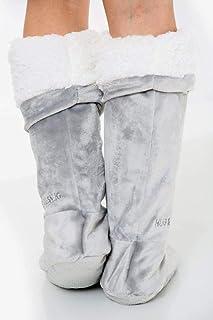 Gaveno Cavailia Luxury Hug & Snug Anti Slip, Warm Snuggly Fleece Footwear, Soft Boot Adults, Polyester, Sock-Grey, One Size