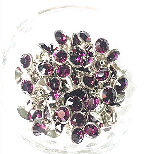 100 Sets Cz Colorful Crystal Rapid Rivets Silver Color Spots Studs Double Cap for DIY Leather-Craft (Purple, 8MM)