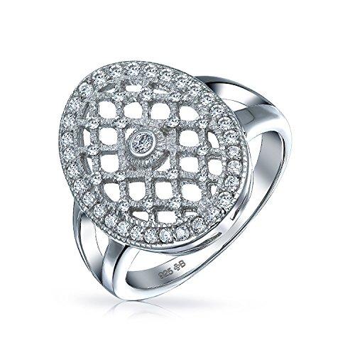 Art-Deco-Stil Mode Große Ovale Pflaster Cluster Cz Engagement Statement Ring Für Frauen Für Teen 925 Sterling Silber