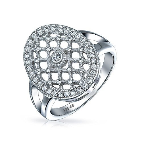 Bling Jewelry Estilo Art Deco Moda Oval Grande Pave Cluster CZ Acoplamiento para...