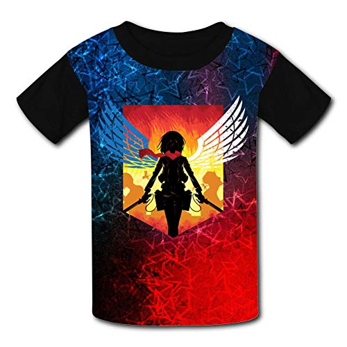BEKAI at-Tack-on-Titan Logo Kids T-Shirts Youth Tees Comfortable & Soft Tops for Boys/Girls Black