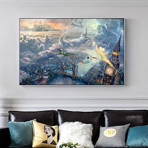 Poster Der König der Löwen und Peter Pan Classic Cartoon Poster und Drucke Leinwand Wandkunst Malerei Kinderzimmer Film Bild Dekoration Cuadros 60x90cm