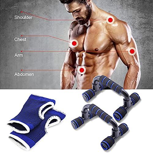 DRWhem Juego de 2 agarres para flexiones, para hacer flexiones, con mango de espuma antideslizante y mangas de muñeca, para casa, gimnasio, entrenamiento de fuerza, prensa de pecho, hombres y mujeres