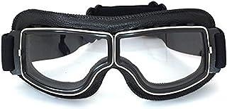 motorradbrille retro Vintage Motorradbrillen Schutzbrille für Biker, schwarz/transparent Brillenglas