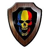 Wappenschild/Wandschild -Rumänien Skull Jugoslawia Roma Totenkopf Totenschädel Tattoo Flagge Fahne #9867