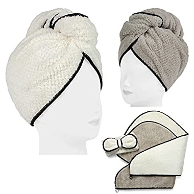 2 Pack Microfiber Hair Towel Set for Women - Drying Twist Wrap for Curly, Long, Thin or Short Hair – Ultra Absorbent & Anti Frizz Turban for Sleeping and Showering – BONUS Soft Headband
