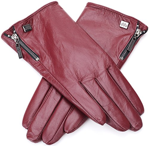 Nappa Leather Zipper Glove For Women, Touchscreen Cold Weather - Lined Gloves...