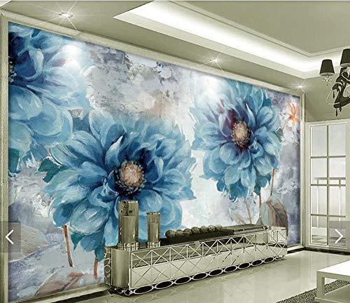 3D vliesbehang fotobehang abstract Nordic vintage schilderij blauwe bloem behang wandschilderij behang voor woonkamer wanddecoratie canvas behang 250*175 250 x 175 cm.