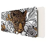 """YSAGi Desk pad, 31.5"""" x 15.7"""" Ultra Thin Waterproof PU Leather Desk Table Protector, Large Mouse Pad,Ideal for Desk Cover, Computer Keyboard, PC and Laptop - Leopard"""