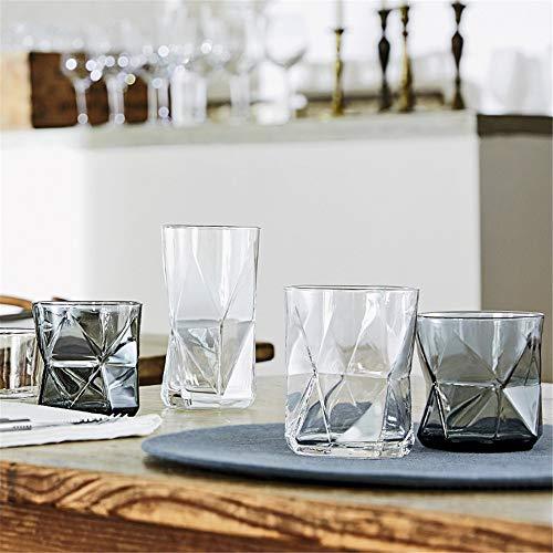 Verre a Whiskey en Cristal Maison Lidless de Sharp Coins coupés, Coupes géométriques, Plat et Lisse, Confortable et Verre Confortable Tasses d'eau Whisky Idée Cadeau Anniversaire