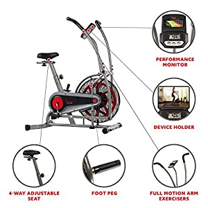 Sunny Health & Fitness Motion Air Bike, Fan Exercise Bike with Unlimited Resistance and Tablet Holder - SF-B2916