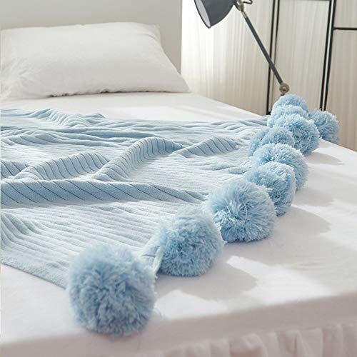 Mantas De Cama/Mantas De Bolas, De Punto De Algodón Mantas Serie Sólido Color Bufandas De Algodón Sofá Mantas Varios Tamaños (Color : Blue, tamaño : 100 * 105cm)