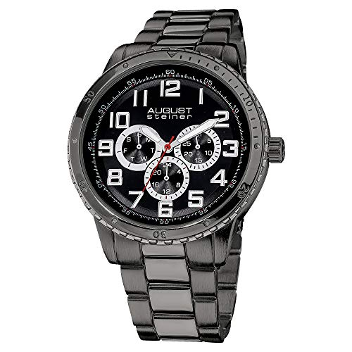 August Steiner Men's Multifunction Watch - 3 Subdials Day, Date and GMT, Luminescent Arabic Numeral on Stainless Steel Bracelet - AS8060