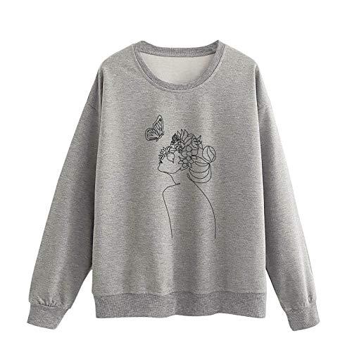 Dicomi Damen Winter Pullover Lose Langarm O-Neck Print Pullover Bluse Tops Jacke Mantel Outwear Sweatshirt