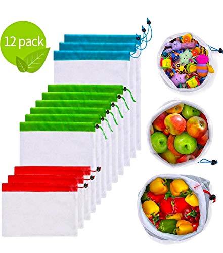 Marni's – 12 herbruikbare, hoogwaardige, wasbare polyester boodschappentassen – milieuvriendelijke net-opbergzakken met snoer voor groenten, fruit, tuingereedschap, speelgoed en nog veel meer