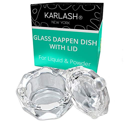 Karlash Nail Art Acrylic Liquid Powder Dappen Dish With Lid Clear Glass Crystal Cup Glassware Tools Glass Dappen Dish Nail Crystal Bowl Glass… (Pack of 1)
