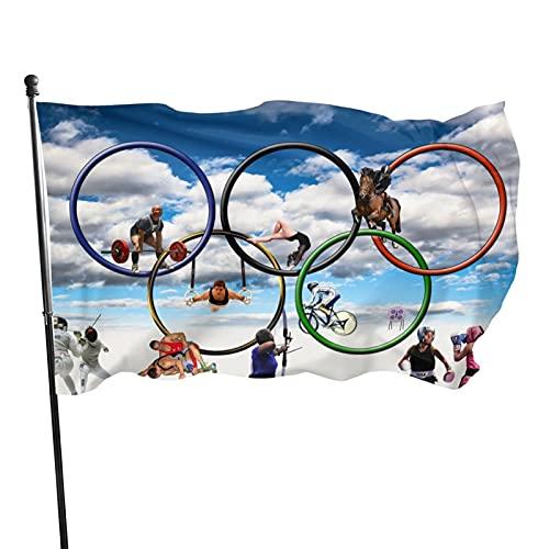 Dekorative Flagge für den Innenhof und Garten, für Olympische Spiele 2021, 90 x 150 cm