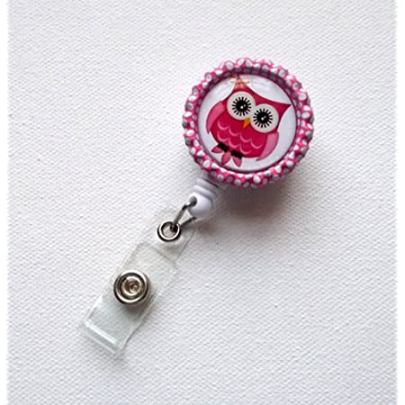Colorful Owl Round ID Badge Key Card Tag Holder Badge Retractable Reel Badge Holder with Belt Clip