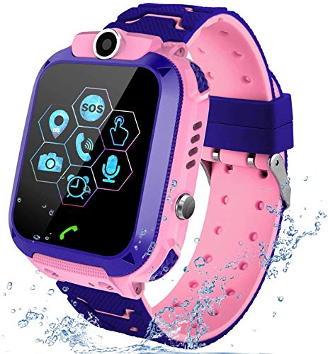 Kids Waterproof Smart Watch, LBS/GPS Tracker Touchscreen SOS Anti-Lost Camera Alarm Clock Voice Chat Games Smartwatch Phone Birthday Gifts for Children Girls Boys,Kids Cell Phone,Smart Watch(Pink)