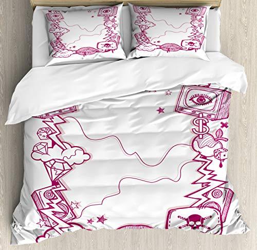 ABAKUHAUS Tv programma Dekbedovertrekset, modern Creative, Decoratieve 3-delige Bedset met 2 Sierslopen, 200 cm x 200 cm, Dark Magenta White