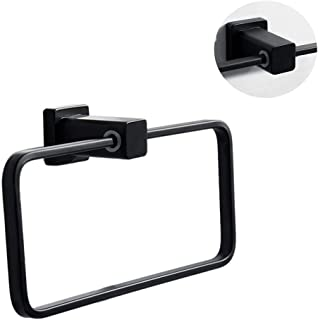 WEHOLY Towel Rack Square Towel Ring Storage Rack, Space Aluminum Towel Ring Storage Rod Bathroom Accessories, Punching/Punch-Free, Anodized, Widened and Thickened.