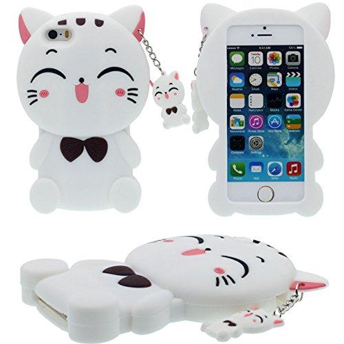 Desconocido 3D Creativo Linda Bonita Gato Forma/Gato Colgante Sauve Silicona Funda Carcasa Protectora Case para Apple iPhone 5 5S 5C SE Niña Estilo - Blanco