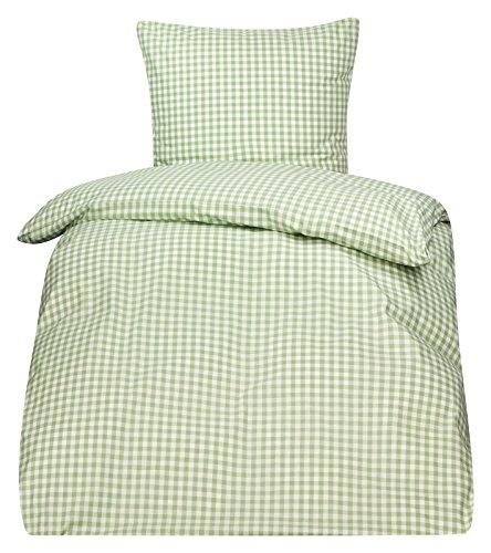 PremiumShop321 4tlg. Bettwäsche Züchen Landhaus Karo 95° koch und chlorecht Hotelverschluss (weiß/grün, 135x200 / 80x80)