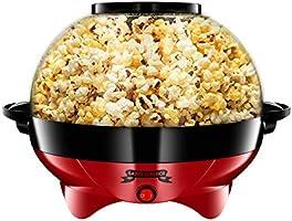 Gadgy Popcornmachine Rond - Groot l 800W | Popcorn Maker met antiaanbaklaag en afneembare bakplaat l Snel en stil l...