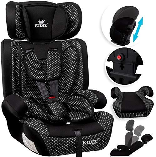 KIDIZ® Autokindersitz Kindersitz Kinderautositz | Autositz Sitzschale | 9 kg - 36 kg 1-12 Jahre | Gruppe 1/2 / 3 | universal | zugelassen nach ECE R44/04 | 6 verschiedenen Farben | Schwarz