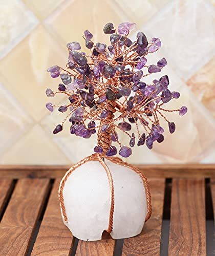 FASHIONZAADI Amethyst Gemstone Tree Clear Quartz Cluster Crystal Base Money Tree For Feng Shui Bonsai Ornaments Lucky Charm Best House Decoration Spiritual Gift Size :- 5.5-5.7 Inch Copper Wire