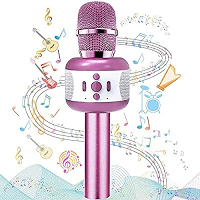 Ncknciz Upgraded Karaoke Bluetooth Microphone, Kids Microphone Adults Wireless Microphone Speaker, Portable Rechargeable Bluetooth Mic for Partys, Home KTV, Outdoor activities