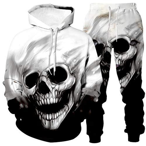 Men Hoodies Outfit Sets 3D Skull Print Tracksuit Sets Hood Pullover+Pants Sets Plus Size Sweatshrit Jogging Sweatsuit Sets (White, L)