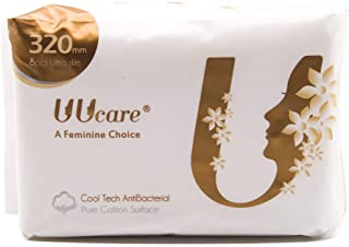 UUCARE 48 Count Ultra Thin Pads with Wings, Super Absorbency Sanitary Napkins with Cool Factor, Unscented, 12.4in Long Siz...