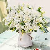 LESING Jarrón de Flores Artificiales con Flores de Seda Falsas en jarrón, decoración de Flores de...